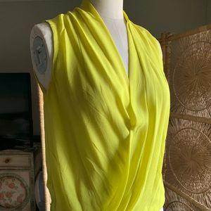 Aritzia Babaton Chartreuse silk sleeveless top S